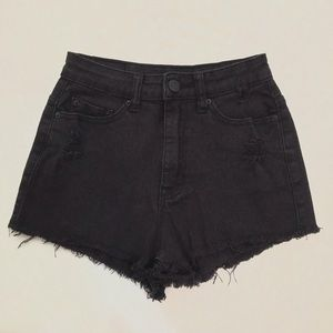 BDG Black Distressed High Rise Dree Cheeky Shorts